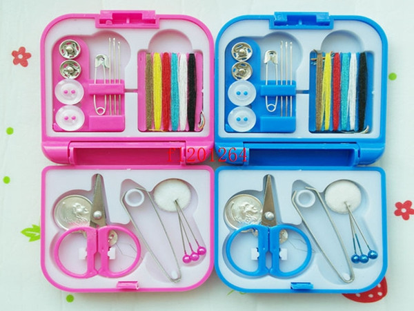 100sets/lot Free Shipping Portable Mini Travel Sewing Box With Color Needle Threads Sewing Kits Sewing Set DIY Home Tools