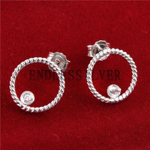Circle Twist Earring Settings Simple Round Face 925 Sterling Silver Studs Earrings Finding for Pearl Party