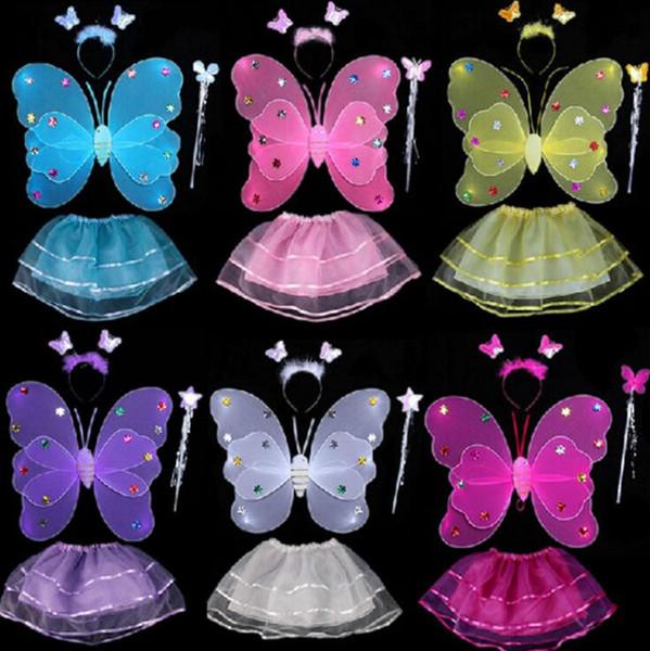 Kids Fairy Princess Costume Sets Colorful Stage Wear 2 Layers Butterfly Wings Wand Headband Tutu Skirts 4pcs/Set OOA3577