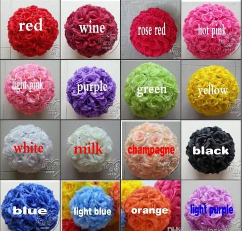 """6""""/15 CM Artificial Rose Silk Flower Kissing Balls White Flowers Ball For Christmas Ornaments Wedding Party Decoration 16 Color New Arrival"""