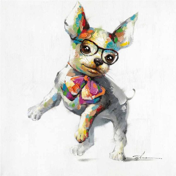 Dancing Dog Wearing Glasses 100% Hand-painted Oil Painting on Canvas Mural Art Animal Drawing for Office Bedroom Wall Decoration