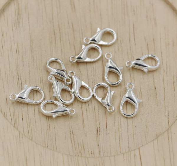 top popular Hot ! 10mm 12mm 14mm 16mm 18mm Plated silver Alloy Lobster Clasps DIY Jewelry 2021