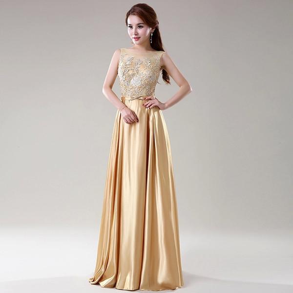 Compre Vestido De Gala Elegante Color Dorado De Encaje Superior De Satén Una Línea De Vestidos De Dama De Honor Largas Barato A 7036 Del