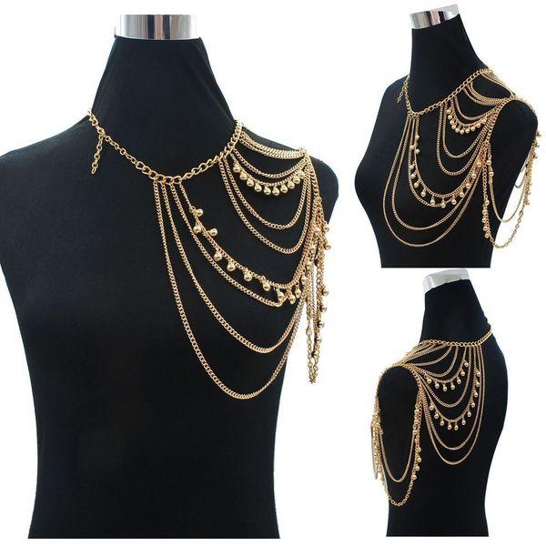 Ouro Sexy Ombro Corpo Cadeia Colar Mulheres Multi Layered Acessórios Do Corpo Ombros Moda Jóias 2015 Atacado