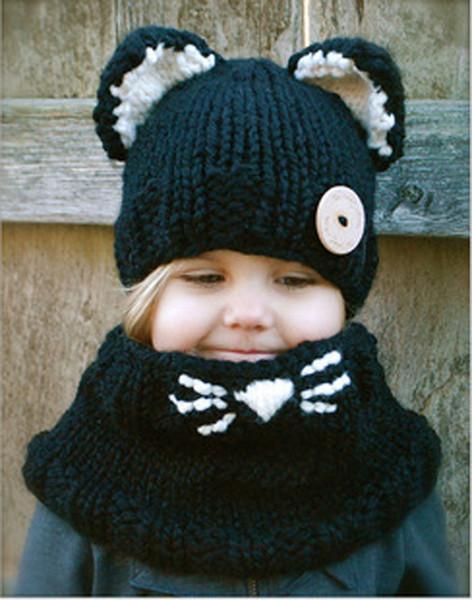 Belle mode chat oreille hiver coupe-vent chapeaux + écharpe 2pcs ensembles pour enfants au crochet coiffures chapeau chaud doux bébé hiver bonnets enfants écharpe chapeau