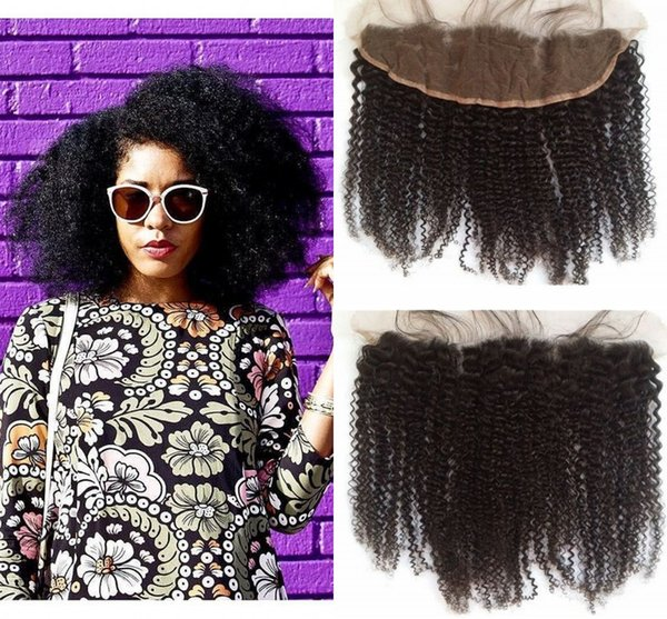 13x4 Ear To Ear Pre Plucked Lace Frontal Closure Bleached Knots Virgin Peruvian Afro Kinky Curly Lace Frontals G-EASY