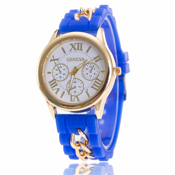 2017 New Famous Brand Gold Alloy Chain Geneva Casual Quartz Watch Women Silicone Watches Relogio Feminino Wristwatches Hot Sale