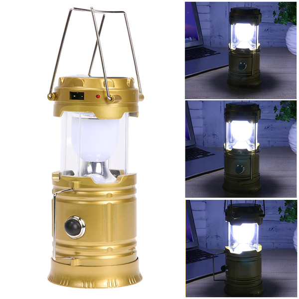top popular Solar lamps 2 in1 Portable Outdoor LED Camping Lantern Solar lights Collapsible Light Outdoor Camping Hiking Super Bright LED 2019