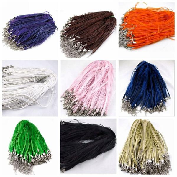 Hot ! 200pcs 3+1 Black , white ,Royal Blue Etc. 11-color Ribbon Voile Necklace Cord 460mm