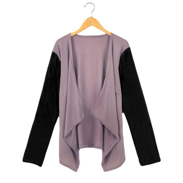 New Fashion Lady Jacket Patchwork PU Leather Long Sleeve Casual Stitching Coat Abrigos y Chaquetas Mujer Beige/Black/Purple order<$18no trac
