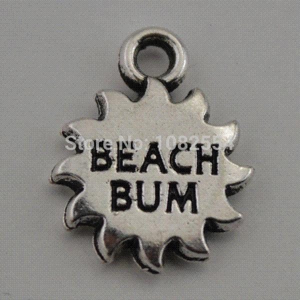 Wholesale Beach Bum Talking Word Charms Anti-silver Tone Relaxing Holidays Jewelry charm bottle charm bracelet safety chain