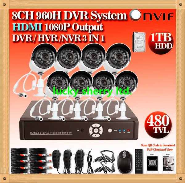 CIA- HD CCTV Cameras system 8ch 960h dvr nvr hvr security camera outdoor dvr kit system with 1tb hdd hdmi 1080p wifi 3G WIFI