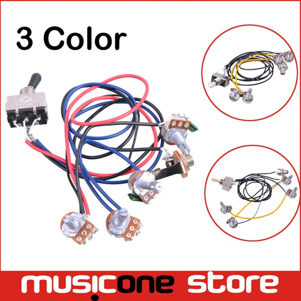 2019 Wiring Harness Prewired 2v2t 3 Way Toggle Switch Jack 500k Pots on