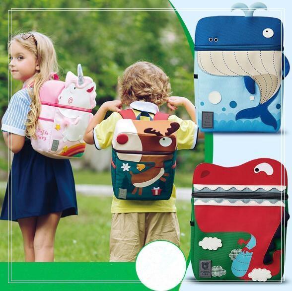 4 Styles Waterproof Cloth Unicorn Backpack Cartoon Colorful Unicorn Whale Shoulder Bag Kids Rainbow Unicorn Elk School Bag CCA8172 30pcs