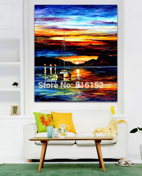 Palette Knife Oil Painting Sailing Boat Beautiful Sunset Seascape Picture Printed On Canvas For Office Home Wall Art Decor