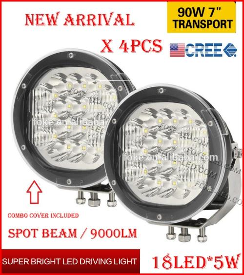 """DHL 4PCS 7"""" 90W 18LED*5W CREE LED Driving Work Light Round Offroad SUV ATV 4WD 4x4 Transport Spot Beam 10-60V 9000lm Combo Protection Cover"""