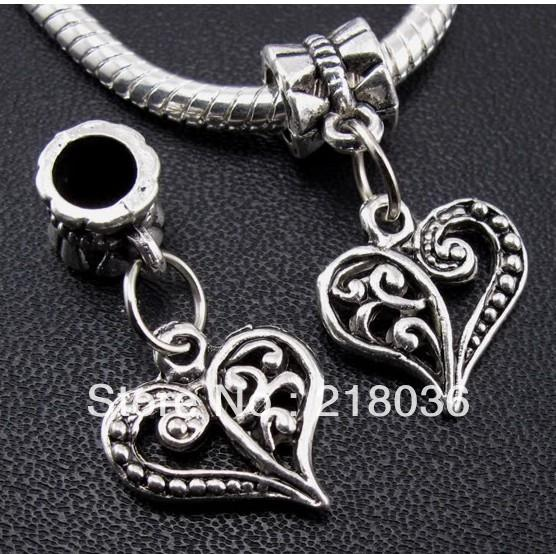 100pcs Tibetan Silver Love Heart Dangle Pendant Charms For Bracelet Necklace Fashion Jewelry Findings Beads Making DIY Accessories A342