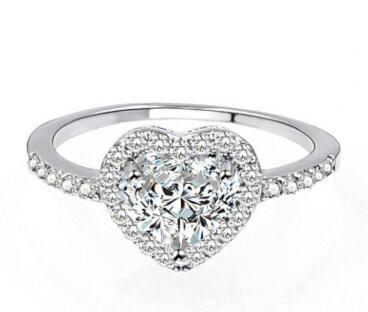 WOMEN 1.50 CT CT E VS2 HEART SHAPE LAD DIAMOND 14 KARAT WHITE GOLD PLATED RING NEW