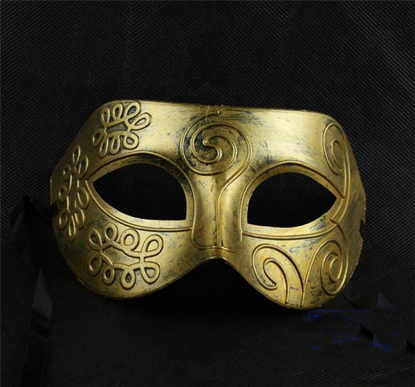 Men- 2015 Men's retro Greco-Roman Gladiator masquerade masks Vintage Golden/Silver Mask silver Carnival Halloween Costume Party Mask D150