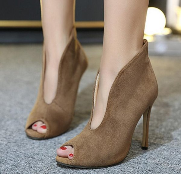 Fashion Women Spring Summer Open Toe Boots Casual Faux Suede Ankle Boots Thin High Heels Peep Toe Women Boots