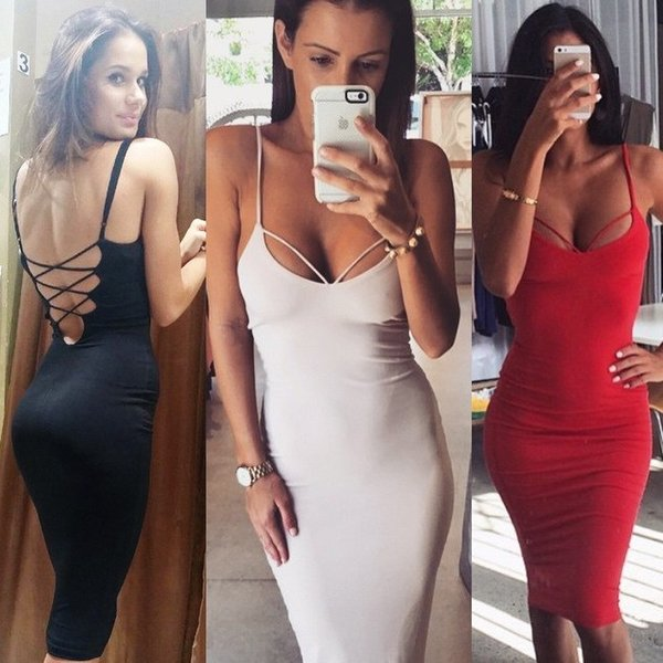 Stunning Sexy Backless Sheath Women Night Party Dress Fashion In Store Spaghetti Sweetheart Neck Lace up Back Knee Length Club Party Dresses