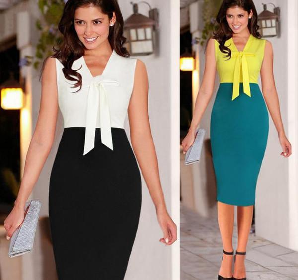 Plus Size Sexy Color Block Bowtie Shift vaina longitud de la rodilla vestidos de trabajo Womens Bodycon Party Gown ropa talla S a XXL