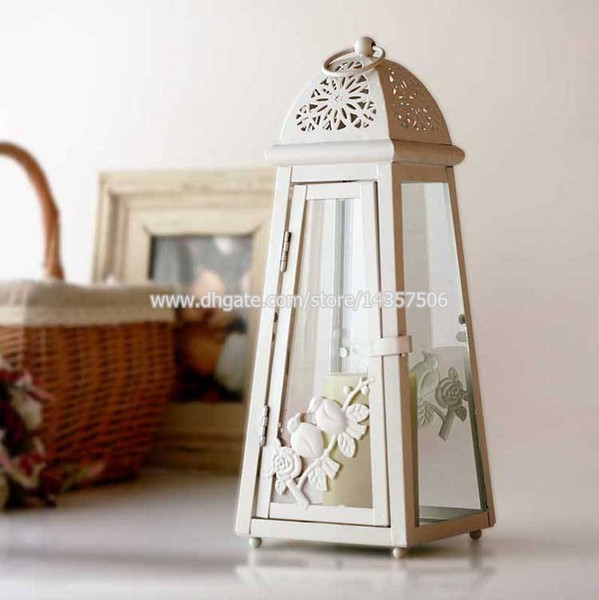 Creative Ivory White Lighthouse Iron Candle Lantern with Birds Sculpture Vintage European Metal Hanging Hurricane Lamp Holder