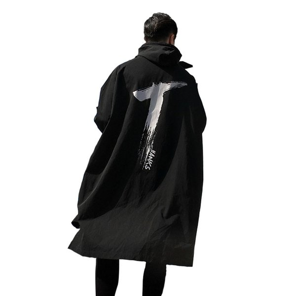 Gabardinas para hombres 2018 Spring Long Thin para hombres Windbreaker Gabardinas de impresión Outwear con capucha Cordón impermeable a prueba de viento negro sobre