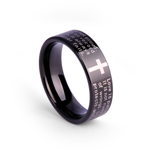 Weekend Deals 8MM IP Black Tungsten Men rings Cross Laser Engraving Fashion Jewelry Unisex Rings Engagement Ring Classic Jewelry