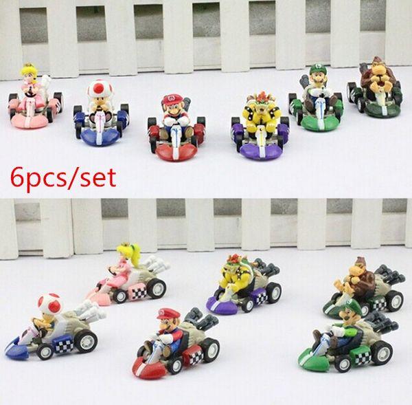 Super Mario Bros. Kart PULL BACK Car Karts Figures Doll Toys 6pcs Free shipping