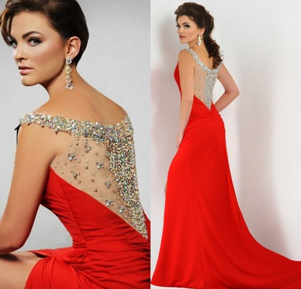2016 Red Prom Dresses Illusion Evening Gowns Spaghetti Sequined ...