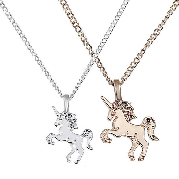 top popular New Fashion Women Unicorn Horse Pendant Necklace Plating Chain Choker Christmas Jewelry Lovely Gift Free Shipping 2019
