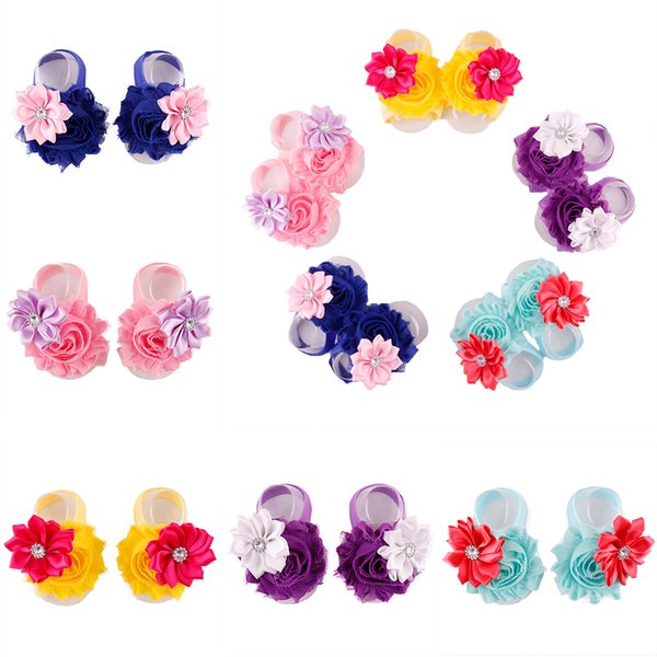 2015 Summer Baby Girl Barefoot Sandals 5 colors Shabby Chic Flower foot flower Ties girls Toddler Shoes Photography props 20pairs lot