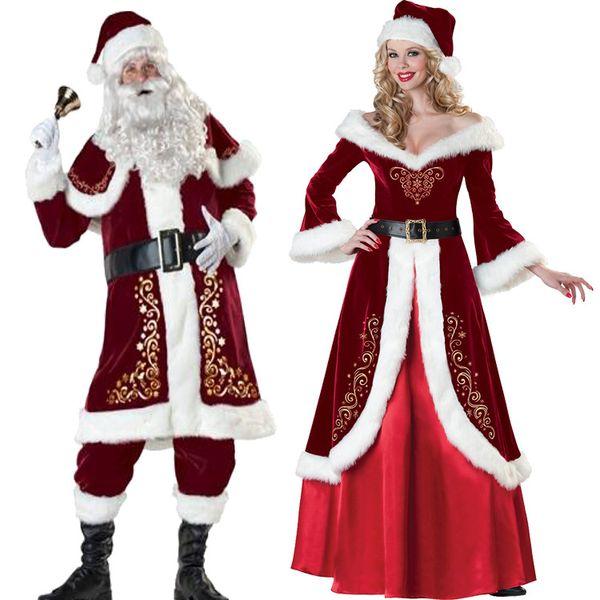 Full Set Of Christmas Costumes Santa Claus For Adults Red Christmas Clothes Santa Claus Costume Luxury Uniform Xmas Costume for Men Women