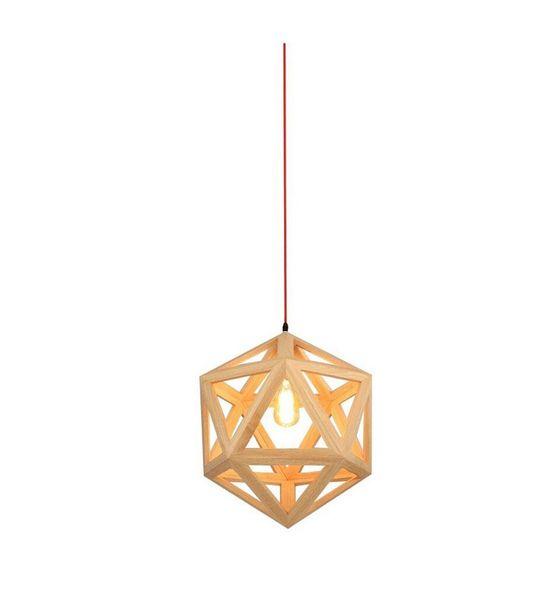 2016 new design rief Hand Craft Pendant Light Natural Wood Nordic Drop Lamp Hexahedron Shaped Hanging Fixture Lighting RH Loft Bar Cafe lust