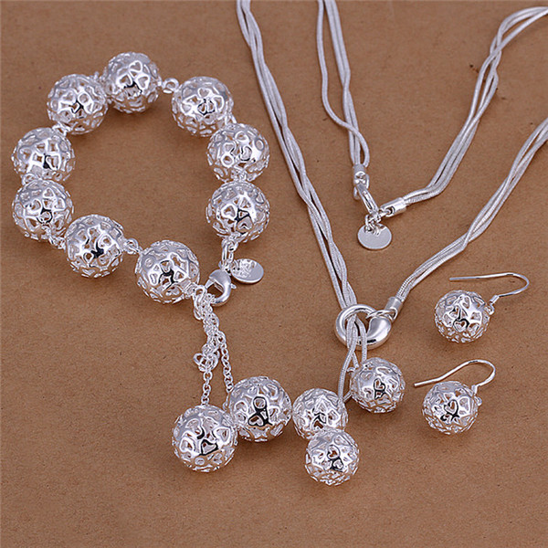 Factory price 925 sterling silver hollow ball necklace & bracelet & earrings Fashion Jewelry Set Free shipping birthday gift for woman