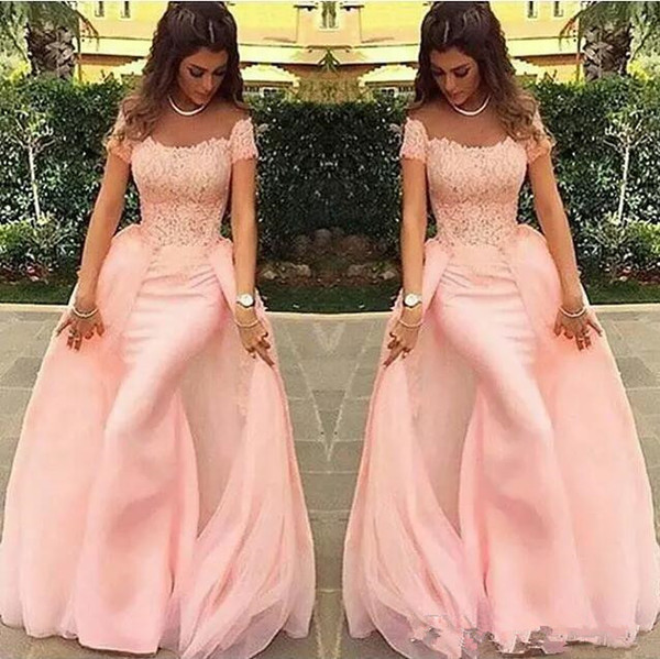 Pink Prom Dresses With Detachable Train Short Sleeves Square Neck Formal Evening Dress Party Gowns Wear Women Dress China Alibaba 2018