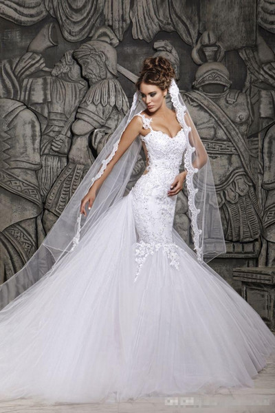 best selling 2019 berta bridal Luxury Backless Lace Sheer Tulle Mermaid Wedding Dresses Covered Button Spaghetti Straps Winter Bridal Gowns BO4801