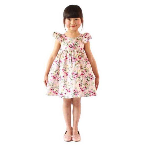 Cherry lemon Cotton backless girls floral beach dress cute baby summer backless halter dress kids vintage flower dress free shipping