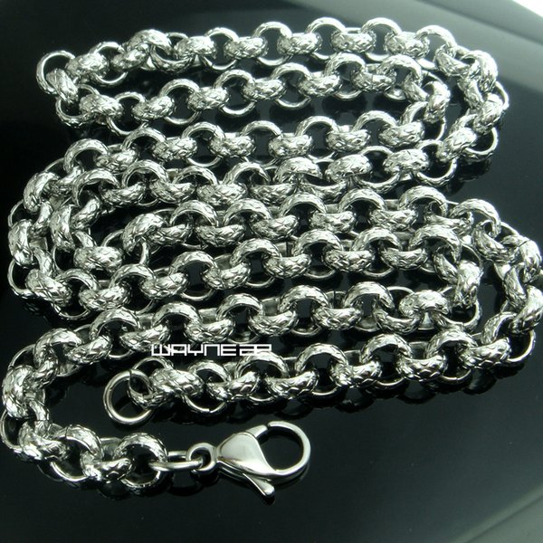 7mm Hotsale Cool Men Necklace Stainless Steel Ring Link Chain (50,60,70CM) N259