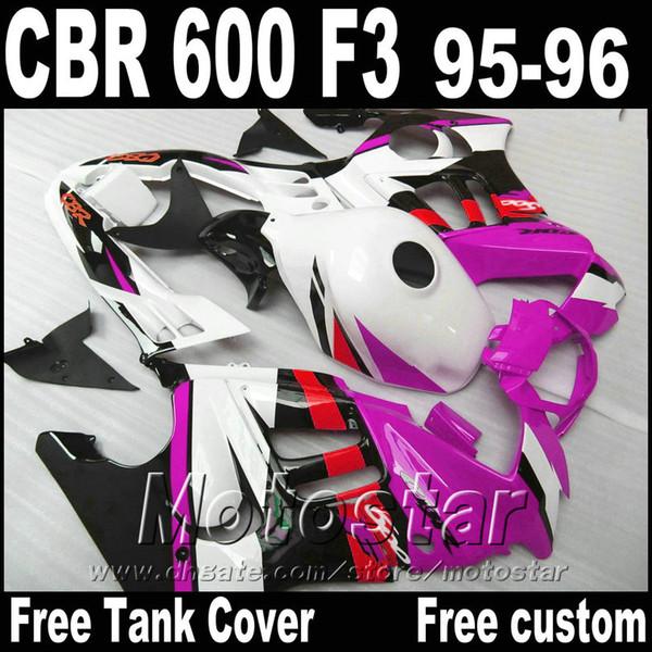 ABS plastic fairings set for HONDA 1995 1996 CBR600 F3 aftermarket CBR 600 95 96 purple white black fairing kit ZB92
