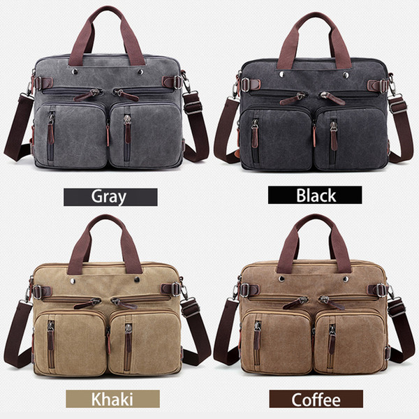 New Men Handbags Canvas Shoulder Crossbody Bags Men Messenger Bags Solid Man Casual Travel Multifunction Back Pack Laptop
