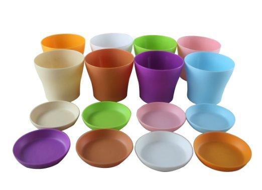 "7 Colors High Quality 5"" Mini Plastic Flower Seedlings Nursery Pot Planter Flower Pot with Pallet Great For Garden D497E"
