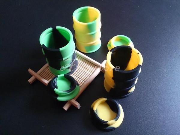 contenedor de barril de aceite de silicona tarros aceite de vaporizador de cera envase de forma de tambor de goma de 26ml hierba seca de silicio de grado alimenticio grande a base de hierbas