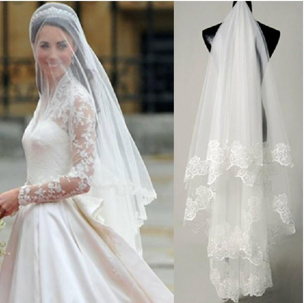 top popular 2015 Princess Kate Bridal Veils Cheap Lace Wedding Veil In Stock Free Shipping Wedding Accessories Bridal Veil Fingertip Length Custom Made 2021