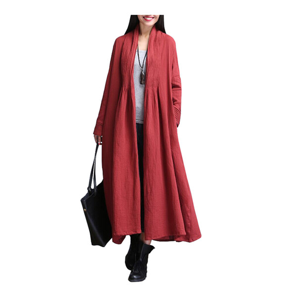 Wholesale- Johnature Women Trench Cotton Linen Autumn 2017 New Female Cardigan Loose Long Sleeve Warm Vintage Windbreaker Coat