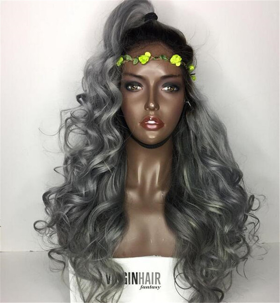 Peruvian #1B/Grey Two Tone Glueless Full Lace Human Hair Wigs Ombre 1B/Grey Lace Front Wigs Bleached Knots
