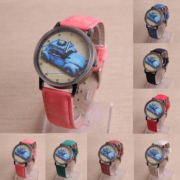 7Colors 2017 2018 New Promotion Ladies Retro Car Painted PU Leather Watches Classic Quartz Watches dress Wristwatches