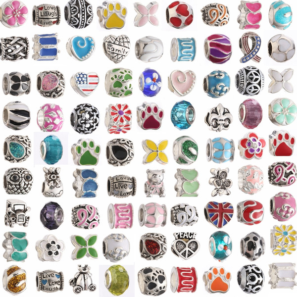 top popular Mix Colors Metal Drop Oil Big Hole Loose Beads charm For Pandora DIY Jewelry Bracelet For European Bracelets mx03 2021