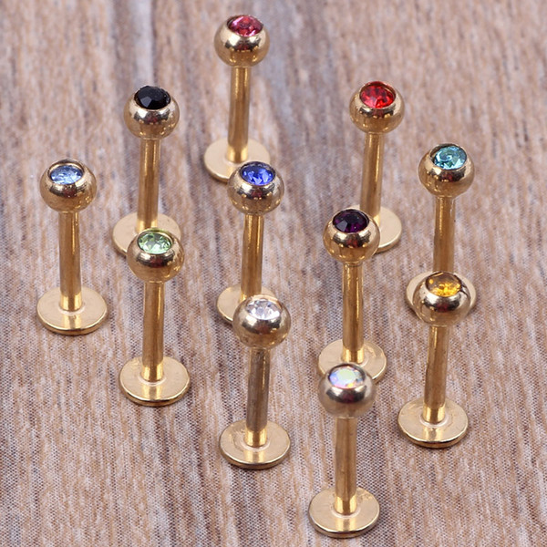 Золото губ бар 100 шт. / лот Микс 7 цветов стали тела ювелирные изделия пирсинг губы кольцо лабрет